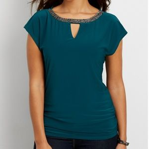 Drape Back Dolman Top with Beaded Neckline